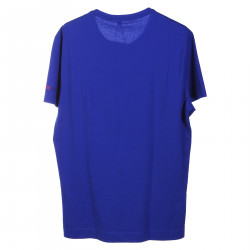 BLUE COTTON T SHIRT WITH PRINT