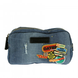 DENIM TROUSSE WITH PATCHES AND CARS