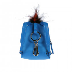 KEYCHAIN IN BLUE BACKPACK WITH STONES AND FUR INSERTS