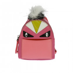 KEYCHAIN IN PINK BACKPACK WITH STONES AND FUR INSERTS