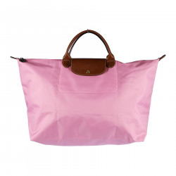 PINK HAND BAG WITH BROWN DETAILS