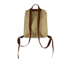 BEIGE BACKPACK WITH BROWN DETAILS