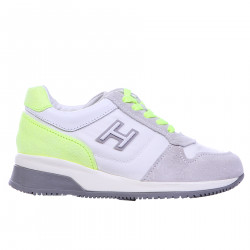 WHITE GRAY AND PHOSFORESCENT YELLOW SNEAKER