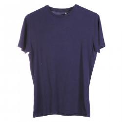 BLUE COTTON ROUND NECK BASIC T SHIRT