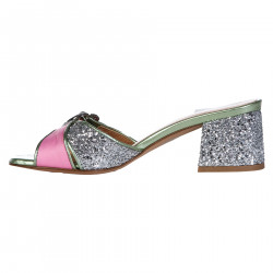 PINK AND SILVER GLITTER SABOT