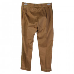 PANTALONE IN COTONE BEIGE CON CUCITURE GIALLE