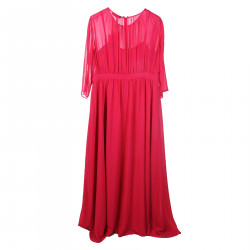 FUCHSIA DRESS WITH STONE INSERT