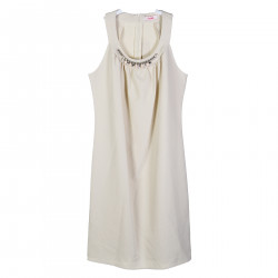 BEIGE SLEEVELES DRESS