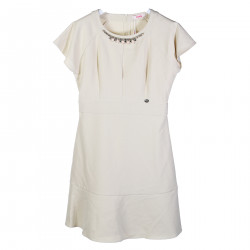 BEIGE DRESS WITH SHORT SLEEVES