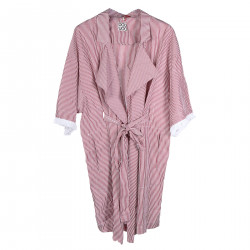 RED AND WHITE STRIPED COTTON TRENCH
