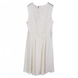 CREAM COLOR DRESS WITH LACE INSERT