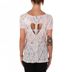BLUSA BEIGE IN PIZZO