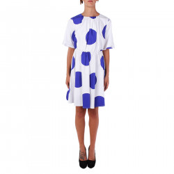 WHITE AND BLUE POIS DRESS