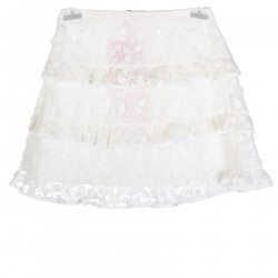 WHITE TULLE SKIRT WITH ELEVATION EMBROIDERYS
