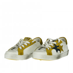 WHITE AND YELLOW LEATHER SNEAKER