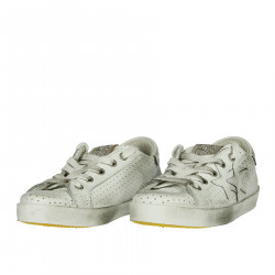 WHITE PERFORATED LEATHER SNEAKER