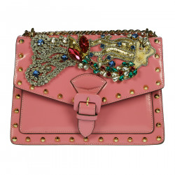 PINK SHOULDERBAG WITH STONES AND STUDS