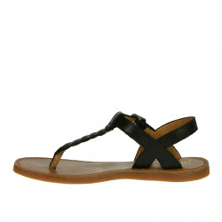 BLACK LEATHER THONG SANDAL