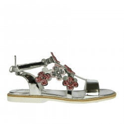 SILVER SANDAL WITH PINK FLOWER APPLICATION