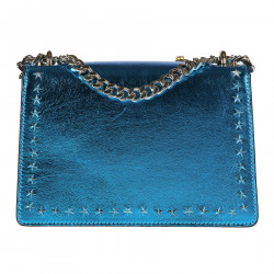 BLUE SHOULDERBAG WITH STUDS AND STONES