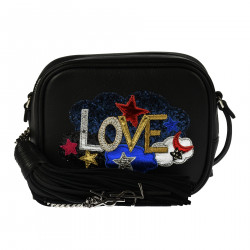 BLACK LEATHER SHOULDERBAG WTH CLOUDS AND STARS