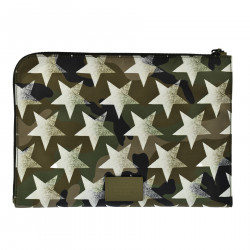 POUCH BAG IN TELA VELA CON STAMPA STELLE