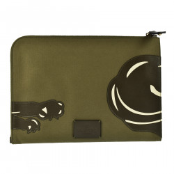 FABRIC POCHETTE WITH TIGER LEATHER APPLICATION