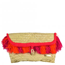 CLUTCH BAG WITH PINK AND ORANGE FRINGES