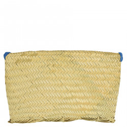 STRAW CLUTCH BAG WITH LIGHT BLUE FRINGES