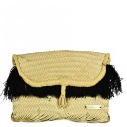STRAW CLUTCH BAG WITH BLACK FRINGES
