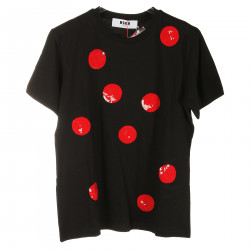 T SHIRT NERA CON POIS ROSSI IN PAILLETTES