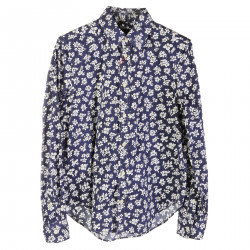 BLUE COTTON SHIRT WITH WHITE FLOWERS