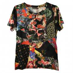 T SHIRT NERA IN FANTASIA TESCHIO