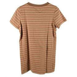 RED AND BEIGE STRIPED ROUND NECK T SHIRT