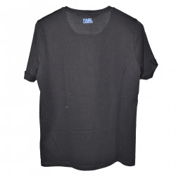 BLACK ROUND NECK T SHIRT WITH PRINT
