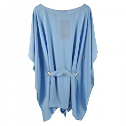 LIGHT BLUE BLOUSE WITH BELT AND GOLD INSERT