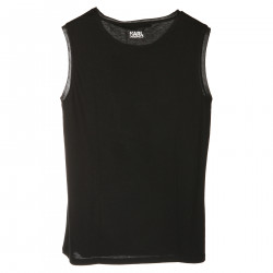 BLACK ROUND NECK TOP WITH WHITE PRINT