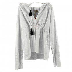 WHITE COTTON BLOUSE WITH BLACK TASSELS