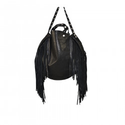 BLACK CIRCLE BAG WITH FRINGES