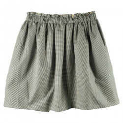GREEN AND WHITE CHECKERED COTTON SKIRT