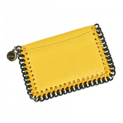 YELLOW SUEDE CARD HOLDER