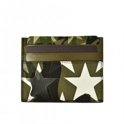 CAMOUFLAGE LEATHER AND FABRIC DOCUMENT HOLDER WITH STARS PRINT