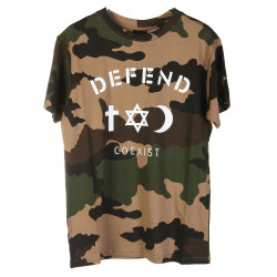 CAMOUFLAGE T SHIRT WITH WHITE PRINT