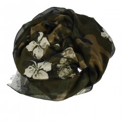 GREEN CAMOUFLAGE SCARF WITH FLOWERS PRINT