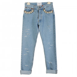RIOED DENIM WITH PEARL