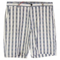 STRIPED COTTON AND LINEN SHORTS