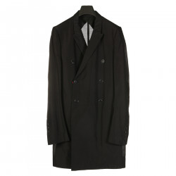 BLACK DOUBLE BREAST TRENCH