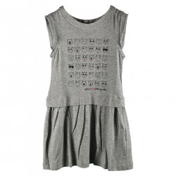 GRAY DRESS WITH FRONT CATS DRAWING