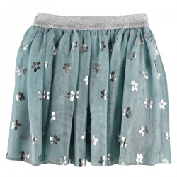 LIGHT BLUE AND SILVER TULLE SKIRT