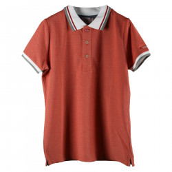 SALMON COLOR POLO WITH WHITE DETAILS